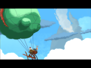A cut scene from chronology.  In this particular showcase, the inventor uses a hot air balloon to float to where he needs to be.