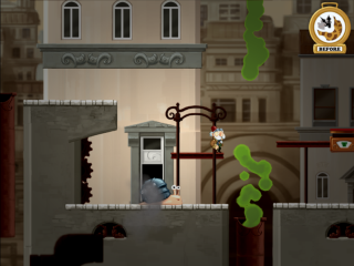A picture of chronology showing off the snail's freeze time power:  in this section, the inventor has to cross a pipe belching crud.  There's only a very small window of opportunity in which a gap exists that the protagonist can jump through.  Using the stop time feature, the player can line up the jump precisely.