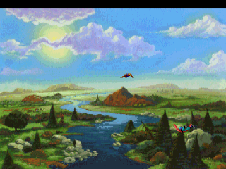 A scene from the opening of the 1990 game King's Quest 5.  In the introduction, you fly over the land of Serenia.