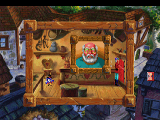 King's Quest 5 utilized the new CD-ROM technology, here we have a picture of the toy maker's portrait from the CD-ROM version.  Naturally, there are no lines.  The voice actors act the parts you would previously have read.