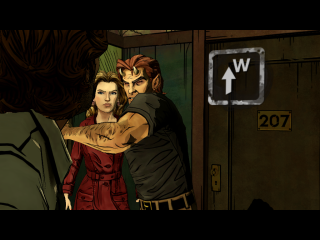 This is a picture showing the quick time events in Wolf Among Us.  In this scene, Beast is laying into Bigby over a misunderstanding.