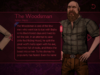 A picture of one of the blurbs about one of the characters in Wolf Among Us.  This particular bio is for The Woodsman and contains a picture of him.