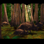 Cryo went to great lengths to immerse the player in the worlds they created.  In this shot, some dinosaurs are walking through a forest dappled in light and green as the player approaches them.