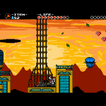 "There are many ""staples"" of old NES games in Shovel Knight.  One of these is the idea of a flying fortress.  In this case, the fortress is flying into the sunset."