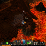 Torchlight's visual design is fantastic and colourful.  Here's a lava-themed area.