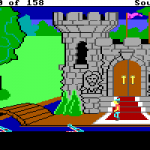"""In King's Quest 1, the graphics were quite colourful.  This is a picture of the castle you start next to, showing off the colours.  There's also a tree here.  Because the game was """"3D,"""" you could walk behind the tree."""