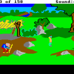 One of the puzzles that Sierra simplified in the remake was the gnome puzzle.  This particular picture is of the original gnome in his authentic setting.  The funny thing?  Guessing correctly set you up for /another/ ridiculous puzzle.