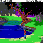 """Sierra went through a phase where they re-made their games for a """"modern audience.""""  The entrenched audience lashed out saying this was """"destroying the classics,"""" so only a handful ended up being made.  This scene is a picture of Sir Graham, the protagonist, picking up some pebbles."""