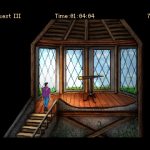 At the top of the Wizard's tower is a telescope.  In the original, this is all jagged edges and the telescope is hinted at through the use of solid black.  Here, this same scene is transformed into a beautiful work of art with light and shadow suggesting the true darkness of the Wizard's thoughts.