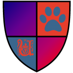 A coat of arms for all underdogs, everywhere. Red for love, blue for loyalty, a pawprint and the letter u :)
