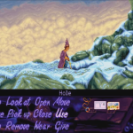 Up on top of the dragon cave, Simon goes fishing. He finds what he's after and the scenery is certainly evocative - purple sky and pink clouds - but the green of the base palette is here, too.
