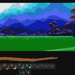 There are lots of gentle vistas in the first half of Loom. Here is one such, with a view of mountains in the background and grass in the foreground. It is a very striking piece of computer art.