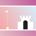a vector graphic image of a flag pole and a castle entrance.