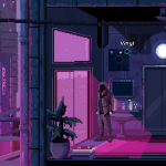 a perfectly cyberpunk night made up of purples and whites and blues.  you're in an apartment, possibly looking for something.