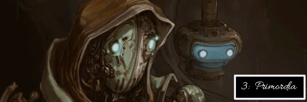 A simple image depicting the protagonists of Primordia: Horatio and Crispin. Both sort of mysterious and glowing, since they're robots. There's also text here to signify that this is number 3 on this list and that the game's name is Primordia